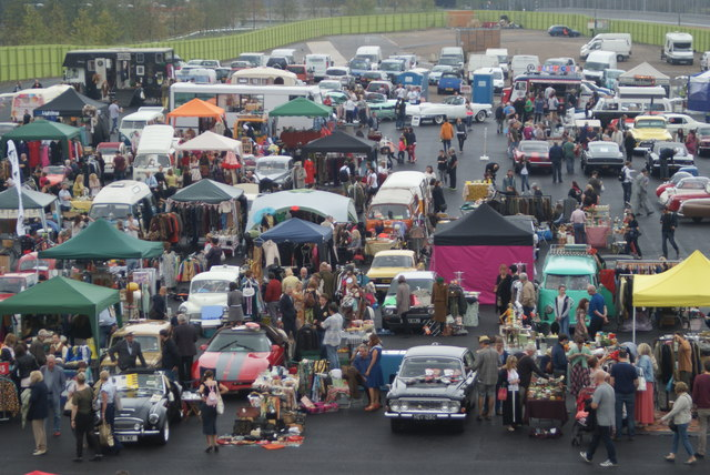 Looking down into the Classic Car Boot Sale from the walkway leading into the OIympic Park