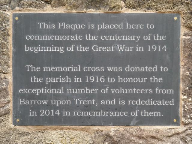 Re-Dedication Plaque, Barrow Upon Trent War Memorial