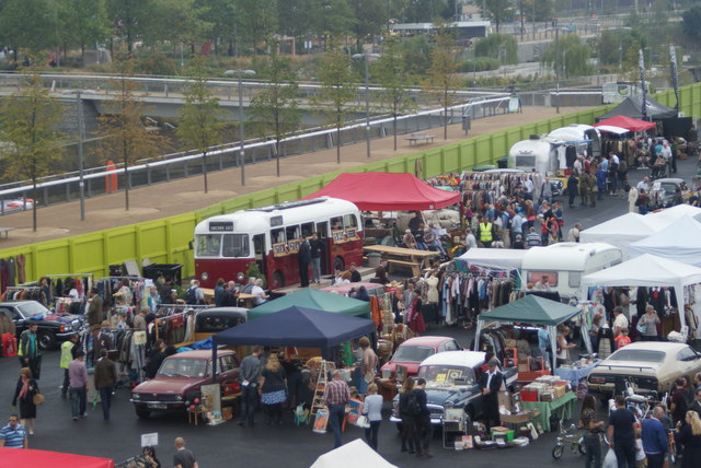 Looking down into the Classic Car Boot Sale from the walkway leading into the OIympic Park #3