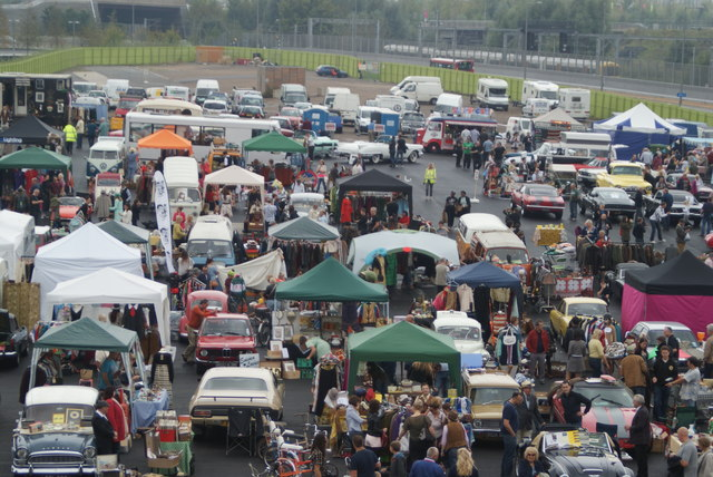 Looking down into the Classic Car Boot Sale from the walkway leading into the OIympic Park #4