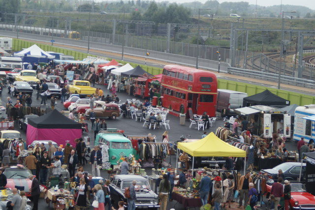 Looking down into the Classic Car Boot Sale from the walkway leading into the OIympic Park #5