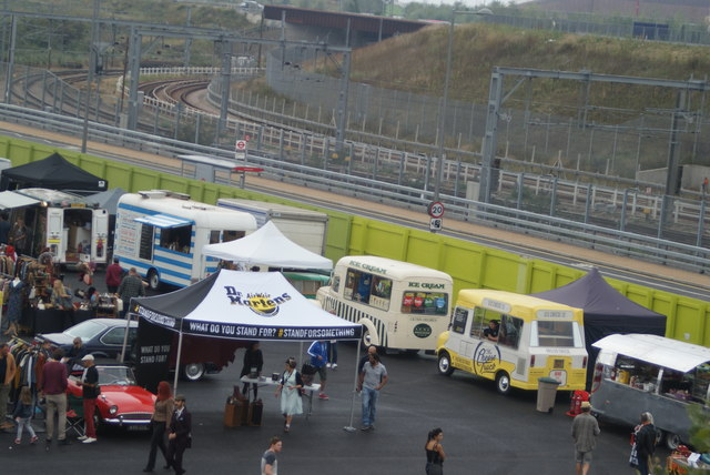 View of the ice cream and burger vans lining up with Westfield Way