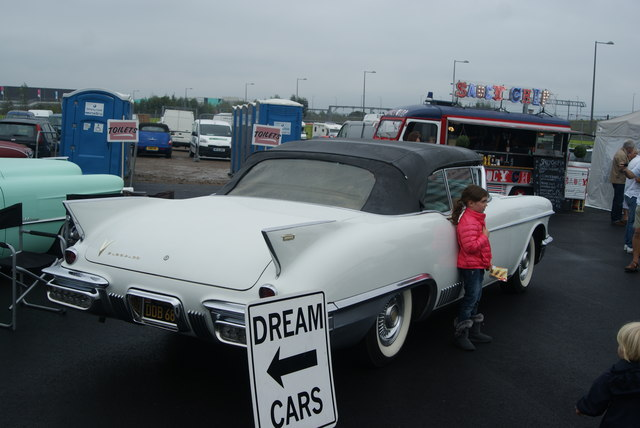 View of an American dream car in the Classic Car Boot Sale