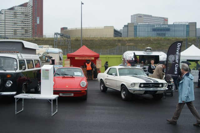 View of a Porsche and Mustang from the Classic Car Boot Sale