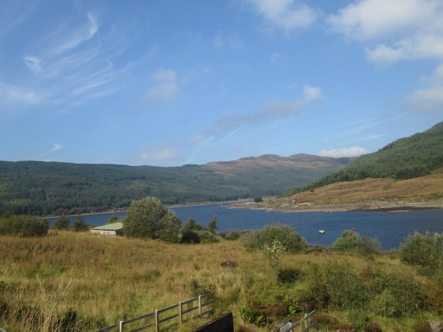 A westward view of Loch Tarsan , a reservoir in Glenlean