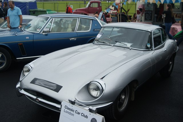 View of an E-type Jaguar from the Classic Car Boot Sale