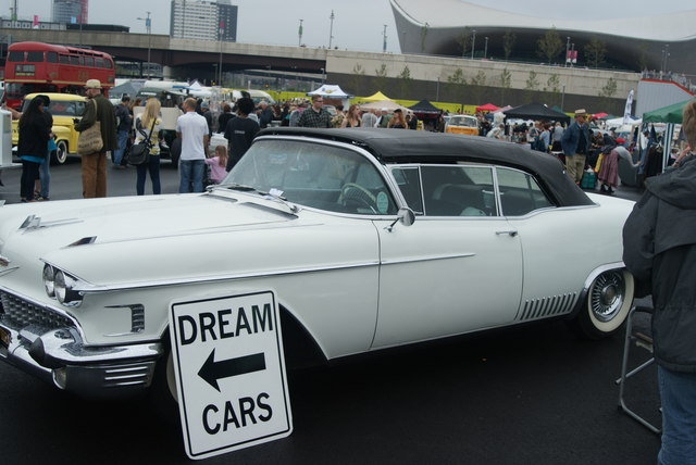 View of an American dream car in the Classic Car Boot Sale #2