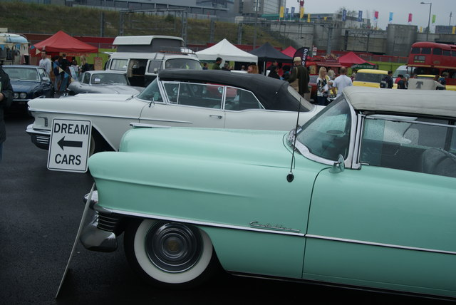 View of the American dream cars in the Classic Car Boot Sale