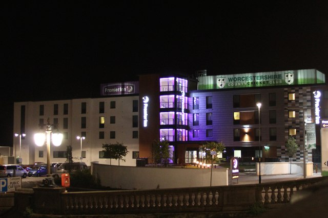 Night view of Premier Inn, Worcester City Centre