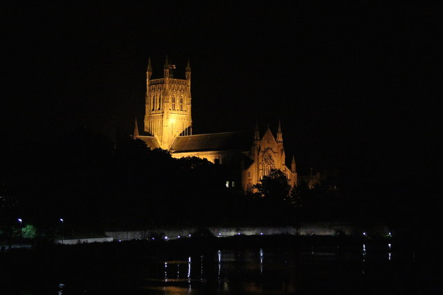 Worcester Cathedral at night