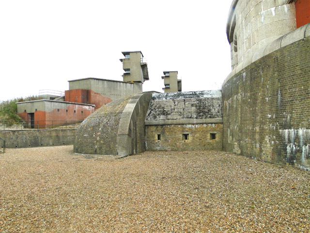 Inside the moat at Landguard Fort