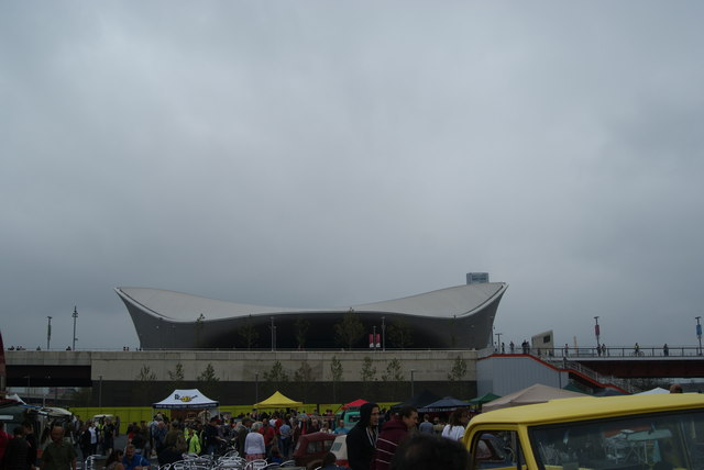 View of the Aquatics Centre from the Classic Car Boot Sale