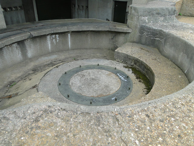 The holdfast for one of the 6 pounder guns at Darell's Battery