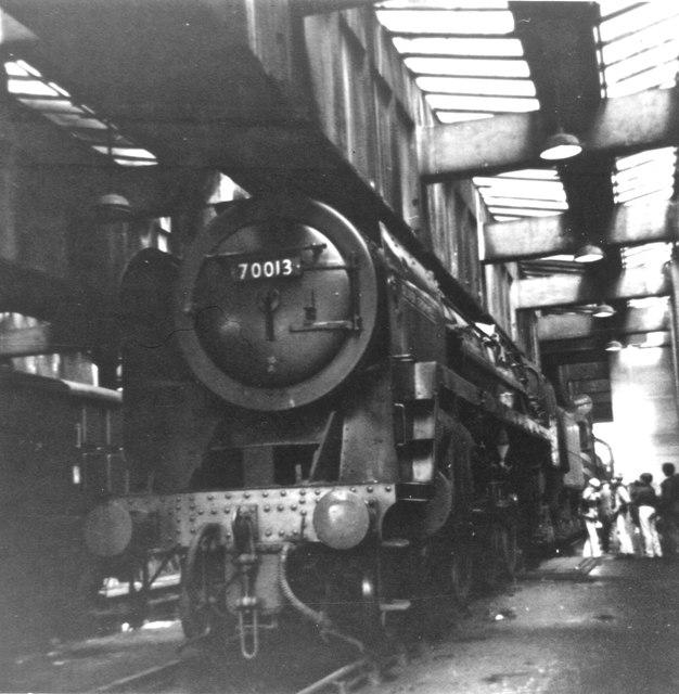 """BR 'Britannia' class 4-6-2 no.70013 """"Oliver Cromwell"""" at Carnforth"""