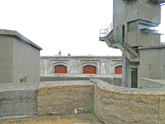Looking at Landguard Fort between the twin gun emplacements