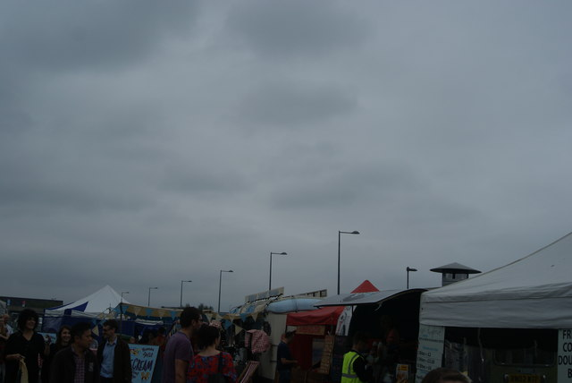 View of a row of lamp posts from the Classic Car Boot Sale