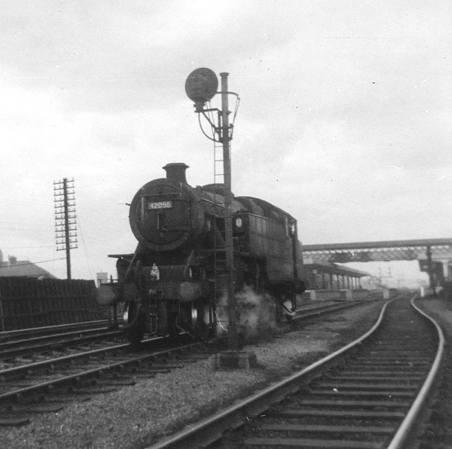 Fairburn 4MT no.42055 light engine at Wakefield Westgate station