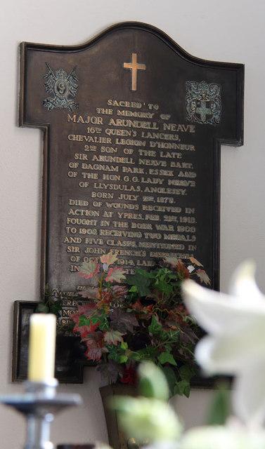 St Thomas, Church Lane, Noak Hill, Havering - Wall monument