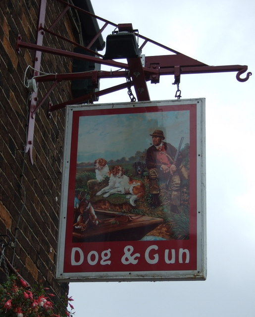 Sign for the Dog & Gun pub, East Butterwick