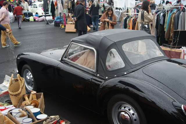 View of an MG MGA from the Classic Car Boot Sale