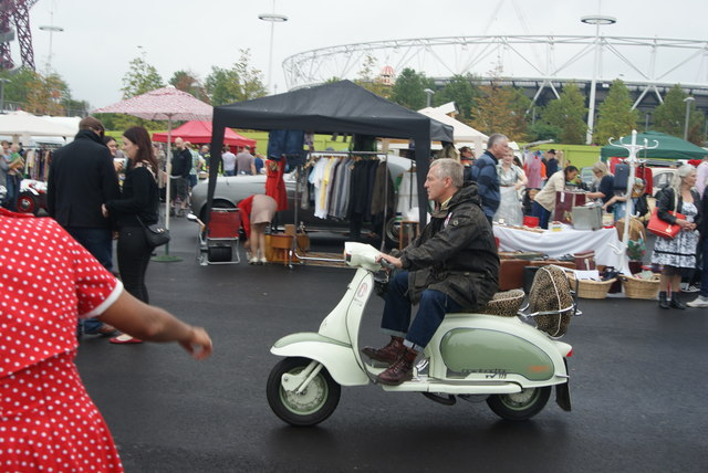 View of a Lambretta Trojan Wheelie TV-175 scooter at the Classic Car Boot Sale