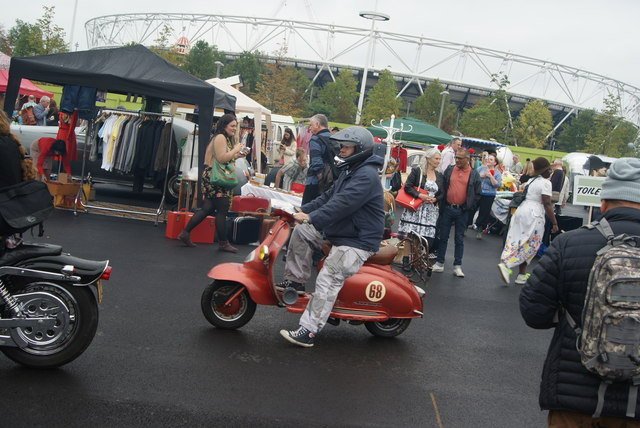 View of a Lambretta arriving from the Ace Cafe