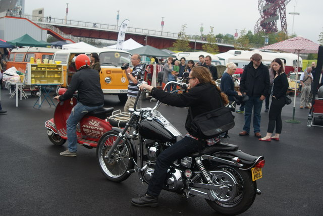View of a Harley-Davidson arriving at the Classic Car Boot Sale from Ace Cafe #2