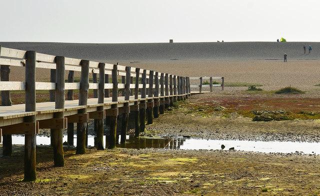 Boardwalk bridge over the Fleet, near Wyke Regis, Dorset