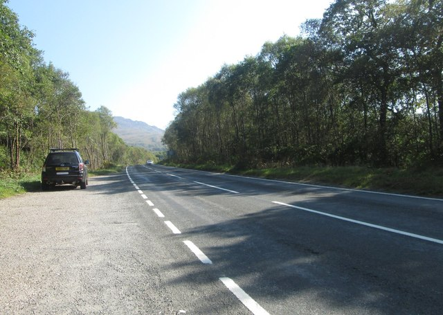 The A886 heading south towards Colintraive