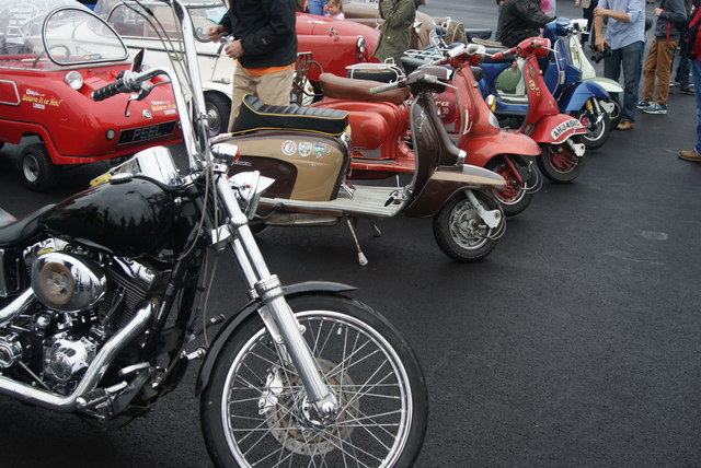 View of all the Ace Cafe scooters parked at the Classic Car Boot Sale