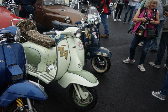 View of two of the Lambrettas in the Classic Car Boot Sale