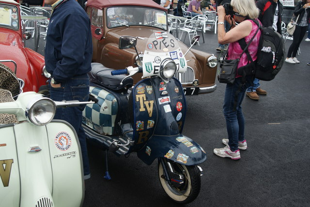 View of one of the Lambrettas in the Classic Car Boot Sale