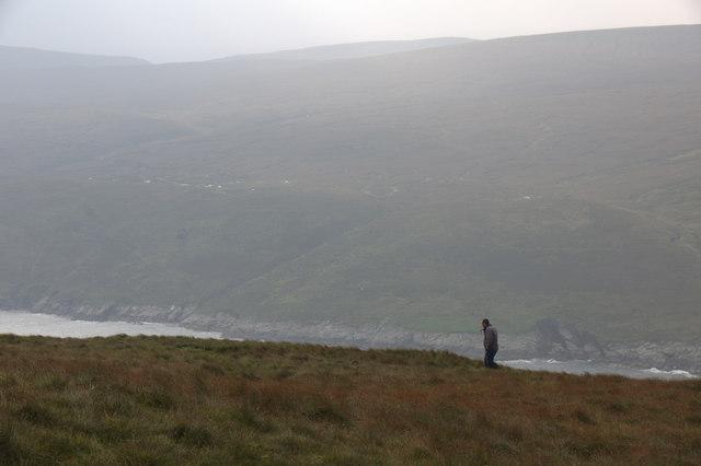 Caaing sheep on Saxa Vord