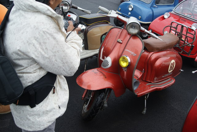 View of one of the Lambrettas in the Classic Car Boot Sale #2