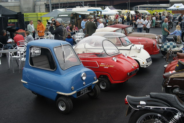 View of the micro-cars in the Classic Car Boot Sale