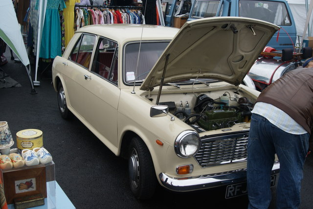 View of an Austin 1100/1300 with its bonnet up in the Classic Car Boot Sale