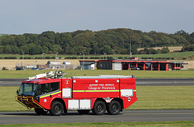A Glasgow Prestwick Airport fire service tender