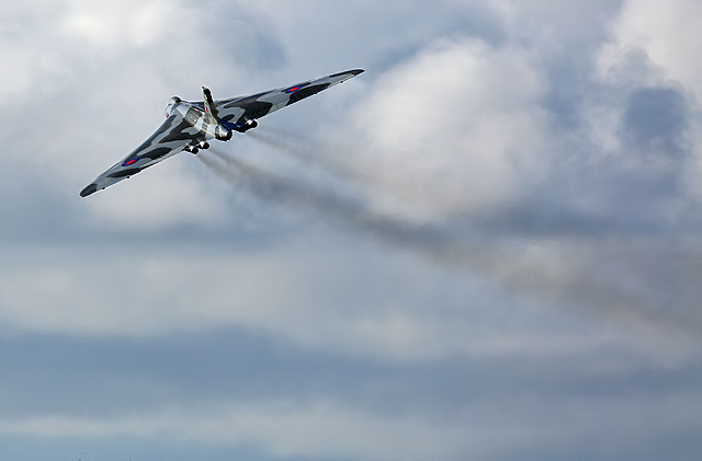 A fly past by Avro Vulcan XH558 at Prestwick Airport