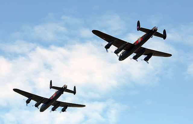 A 2-ship Lancaster fly past at Glasgow Prestwick Airport
