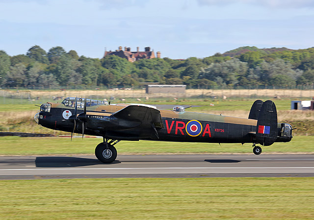 The Canadian Lancaster Vera taking off from Glasgow Prestwick Airport