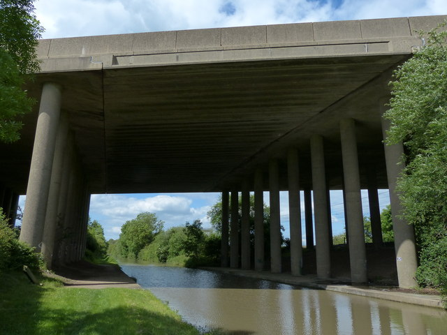 M6 motorway bridge crossing the Oxford Canal