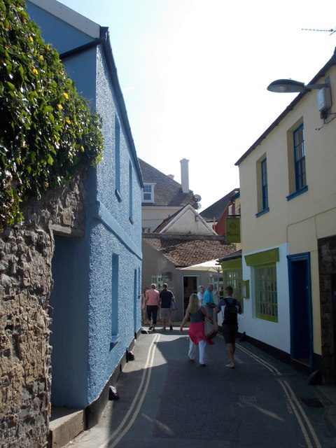 Lyme Regis: a blue frontage in Coombe Street