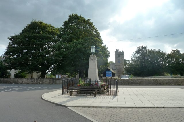 War memorial and church at Caerwent