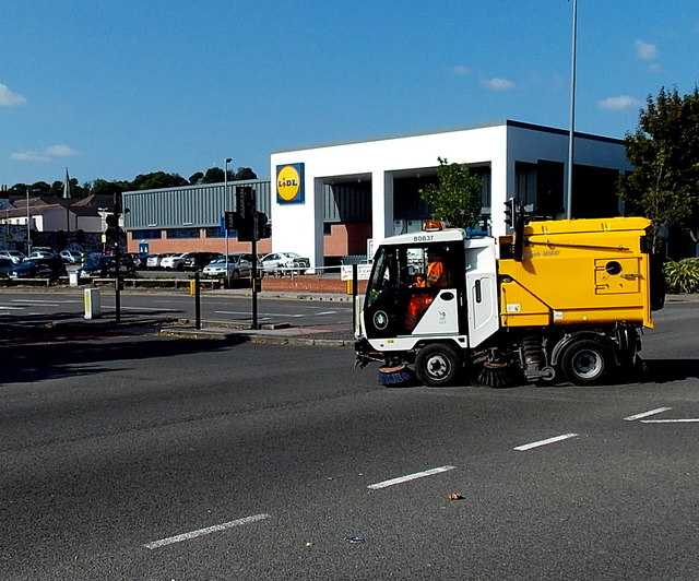 Sweeping up near the Granville Street Lidl in Newport