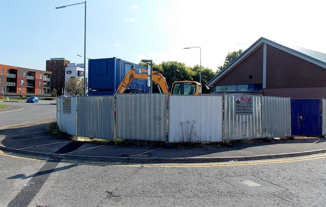 Construction site for a new Greggs Bakery shop in Newport