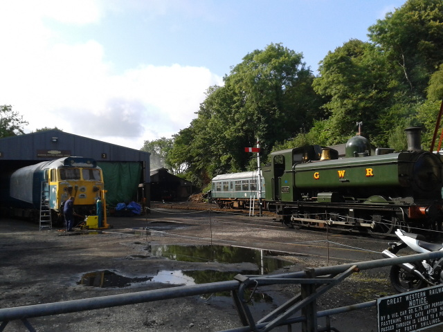 Preserved railway at Bodmin, GWR 4612 and BR class 50