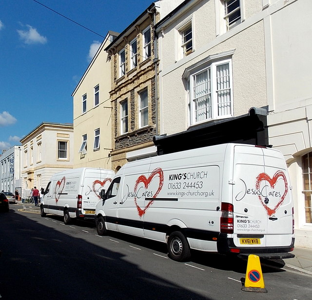 King's Church vans parked in Lower Dock Street, Newport