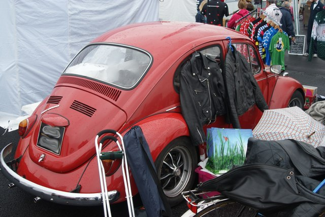 View of a VW Beetle in the Classic Car Boot Sale