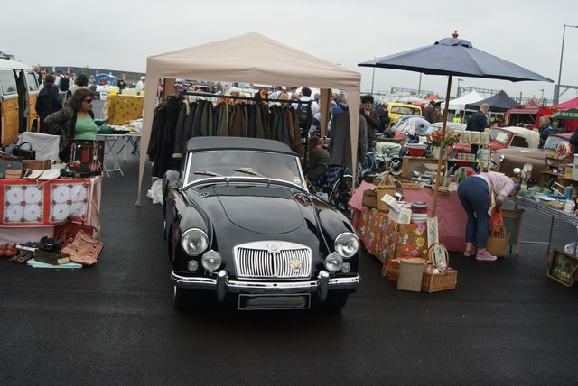 View of an MG MGA in the Classic Car Boot Sale