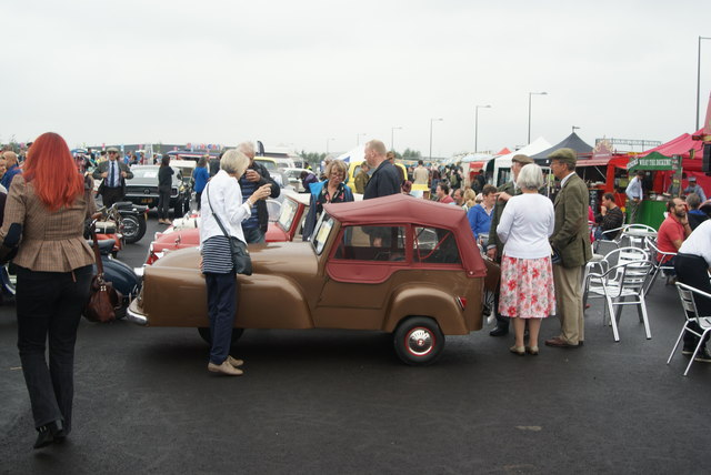 View of a three-wheeled car from Classic Car Boot Sale